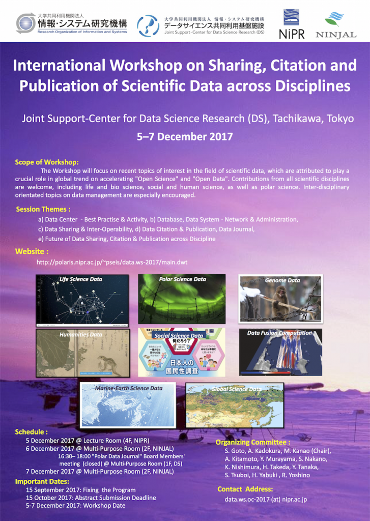 International Workshop on Sharing, Citation and Publication of Scientific Data across Disciplines